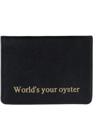 Men Wallets - Men's Black Leather Worlds Your Oyster Travel Card Holder VIDA VIDA