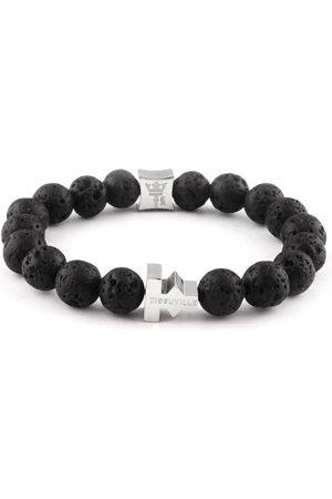 Tissuville Lava Stones Bracelet Silver Men Pulse Bracelet