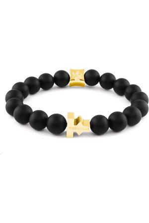Tissuville Matte Beads Stones Labyrinth Bracelet Gold Men
