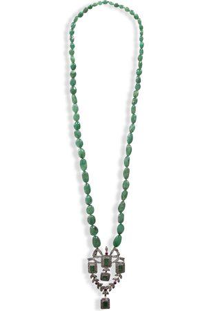 Women Necklaces - Women's Artisanal Gold/Green/Black Belle Antique Earrings & Necklace Set Opuline