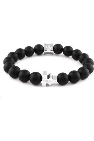 Tissuville Matte Beads Stones Labyrinth Bracelet Silver Men