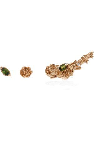 Women Studs - Women's Artisanal Rose Gold Three Earrings Set Roses & Tourmalines Lee Renee