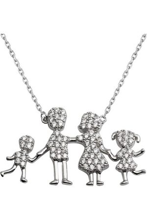 Cosanuova Sterling Family Pendant One Girl-One Boy Necklace
