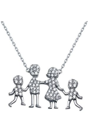Cosanuova Sterling Family Pendant Two Boys Necklace