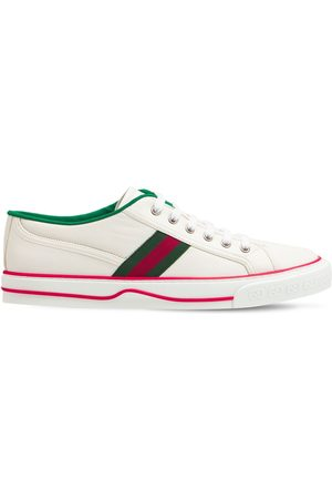 GUCCI Web Leather Low Top Tennis Sneakers