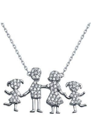 Women's Sterling Silver Family Pendant Two Girls Necklace Cosanuova
