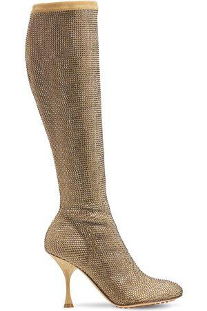 Bottega Veneta Women Thigh High Boots - 90mm Sparkle Dot Suede Tall Boots