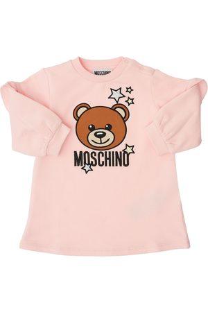 MOSCHINO Embroidered Cotton Sweat Dress
