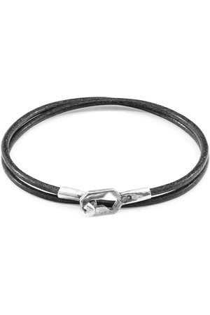 Anchor & Crew Shadow Grey Tenby Silver & Round Leather Bracelet