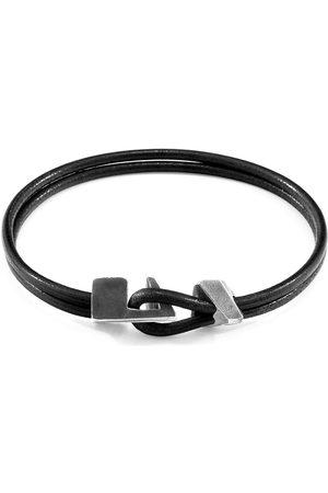 Anchor & Crew Raven Black Brixham Silver & Round Leather Bracelet