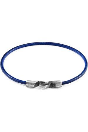 Anchor & Crew Azure Blue Talbot Silver & Round Leather Bracelet