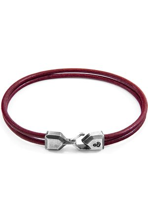Anchor & Crew Bordeaux Red Cromer Silver & Round Leather Bracelet
