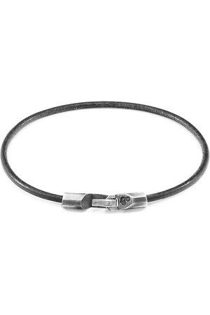 Anchor & Crew Shadow Grey Talbot Silver & Round Leather Bracelet