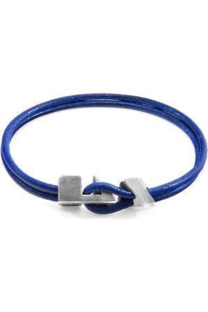 Anchor & Crew Azure Blue Brixham Silver & Round Leather Bracelet