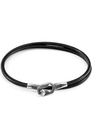 Anchor & Crew Men Bracelets - Raven Black Tenby Silver & Round Leather Bracelet