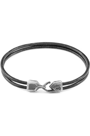 Anchor & Crew Shadow Grey Cromer Silver & Round Leather Bracelet