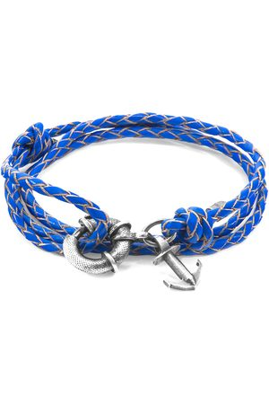Men Bracelets - Men's Artisanal Royal Blue Leather Clyde Anchor Silver & Braided Bracelet ANCHOR & CREW