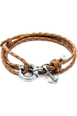 Men Bracelets - Men's Artisanal Silver Leather Light Brown Clyde Anchor & Braided Bracelet ANCHOR & CREW