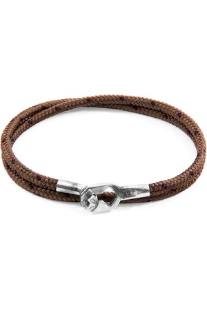 Anchor & Crew Brown Tenby Silver & Rope Bracelet