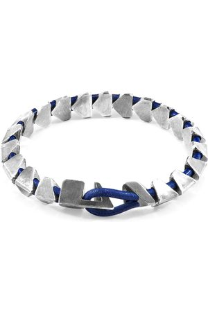 Men Bracelets - Men's Artisanal Blue Leather Azure Brixham Maxi Silver & Round Bracelet ANCHOR & CREW
