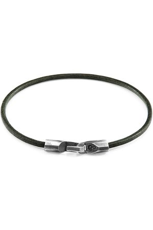 Anchor & Crew Racing Green Talbot Silver & Round Leather Bracelet
