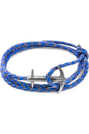 Men Bracelets - Men's Artisanal Royal Blue Leather Admiral Anchor Silver & Braided Bracelet ANCHOR & CREW