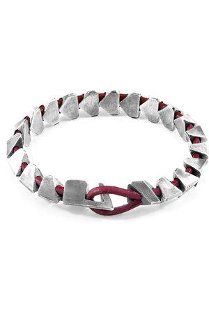 Men Bracelets - Men's Artisanal Silver Leather Red Bordeaux Brixham Maxi & Round Bracelet ANCHOR & CREW