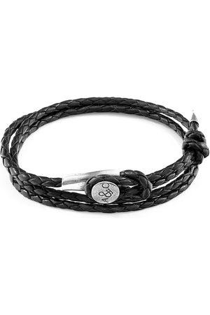 Men Bracelets - Men's Artisanal Black Leather Coal Dundee Silver & Braided Bracelet ANCHOR & CREW
