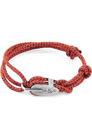Men Bracelets - Men's Artisanal Silver Red Noir Tyne & Rope Bracelet ANCHOR & CREW