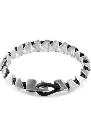 Men's Artisanal Black Leather Raven Brixham Maxi Silver & Round Bracelet ANCHOR & CREW