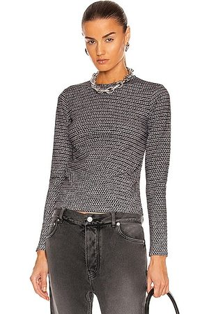 Balenciaga Fitted Long Sleeve T Shirt in Grey