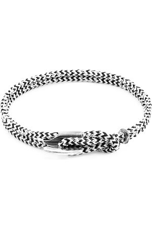 Anchor & Crew White Noir Padstow Silver & Rope Bracelet