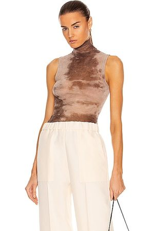 ENZA COSTA Cotton Mesh Sleeveless Turtleneck Top in