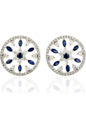 Women Studs - Women's Artisanal Blue 18K White Gold Round Stud Earring With Sapphire & Pave Diamond