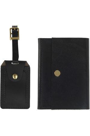 Men Luggage - Men's Black Leather Luxe Luggage Tag & Passport Holder Set VIDA VIDA