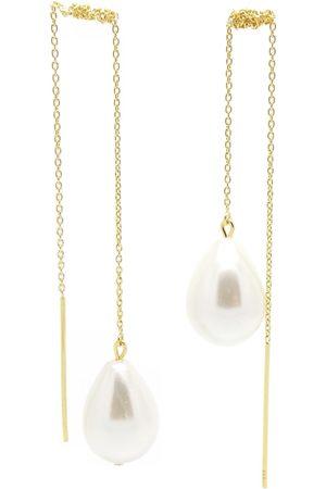 Girls Earrings - Women's Artisanal Pearl Girl With A Gold Threader SALOME