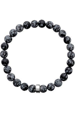 Men's Artisanal Silver Cotton Aro Snowflake Obsidian Bracelet Bead - Large ORA Pearls