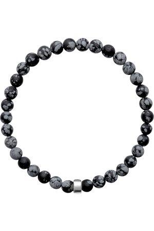 Men Bracelets - Men's Artisanal Silver Cotton Aro Snowflake Obsidian Bracelet Bead ORA Pearls