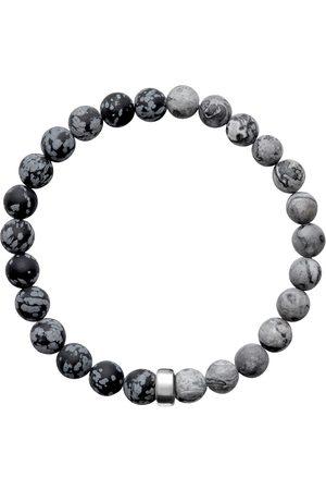 Men's Artisanal Silver Cotton Aro Snowflake Obsidian & Map Jasper Bracelet Bead - Large ORA Pearls