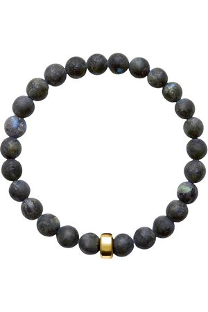 Men Bracelets - Men's Artisanal Pearl Cotton Aro Larvikite Bracelet Gold Bead ORA Pearls