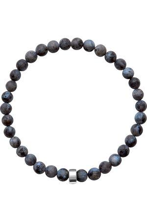 Men Bracelets - Men's Artisanal Silver Cotton Aro Larvikite Bracelet Bead ORA Pearls
