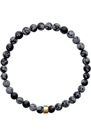 Men's Artisanal Pearl Cotton Aro Snowflake Obsidian Bracelet Gold Bead ORA Pearls
