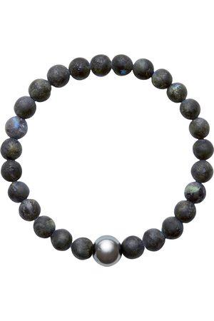 Men Bracelets - Men's Artisanal Grey/Blue/Black Cotton Aro Tahitian Pearl & Larvikite Bracelet - Large ORA Pearls