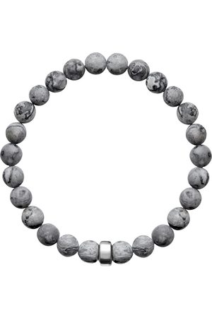 Men's Artisanal Silver Cotton Aro Map Jasper Bracelet Bead - Large ORA Pearls
