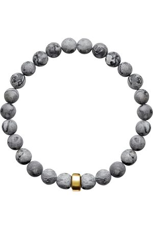 Men Bracelets - Men's Artisanal Pearl Cotton Aro Map Jasper Bracelet Gold Bead ORA Pearls