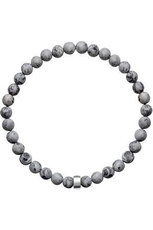 Men's Artisanal Silver Cotton Aro Map Jasper Bracelet Bead ORA Pearls