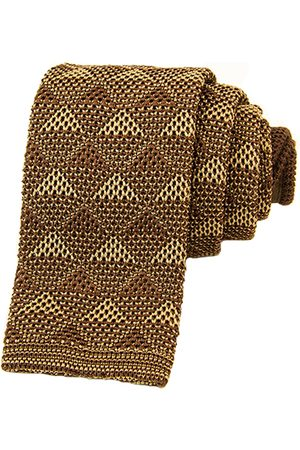 Men's Artisanal Brown Silk Diamonds Knitted Tie 40 Colori