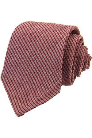 Men Neckties - Men's Artisanal Red Silk Striped Washed Tie Small 40 Colori