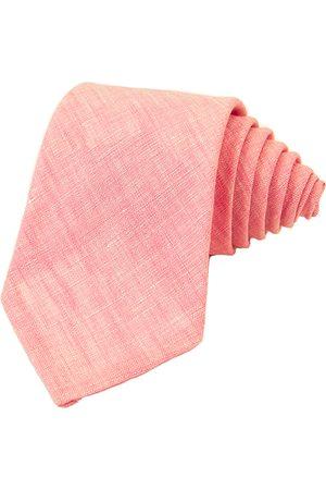 Men's Artisanal Pink Linen Solid Tie 40 Colori