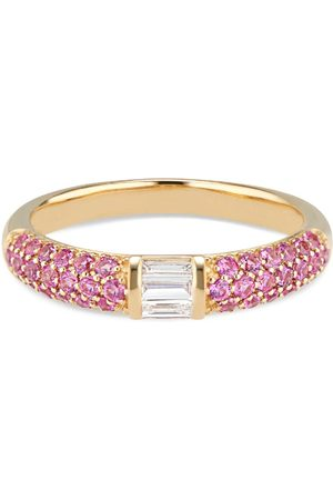 Women Rings - Women's Artisanal Pink Stacked Half Eternity Band With Pave Set Sapphires & Baguette Diamonds Ri Noor
